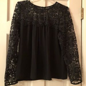 J.Crew Outlet NWT Black Lace Blouse, Small
